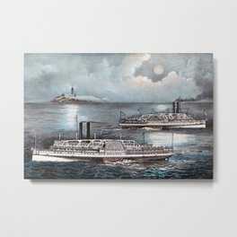 Steamboats Passing At Midnight On Long Island Sound - Circa 1900 Metal Print
