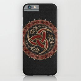 Odin's Horn Black and Red Leather and gold iPhone Case
