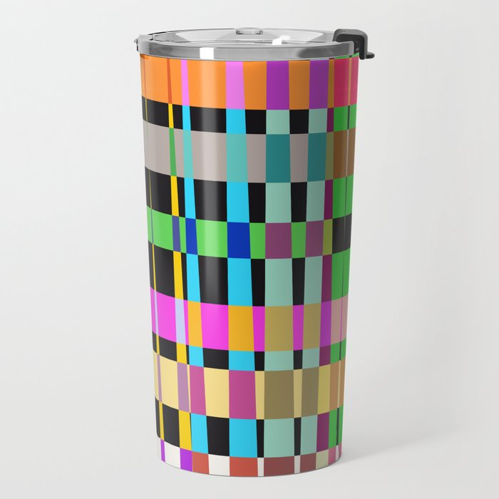 inclined coloured stripes Travel Mug