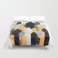 minerals Duvet Covers featuring Black & Yellow Crystals by Elisabeth Fredriksson