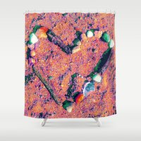 west coast Shower Curtains featuring West Coast Heart by Angela Pesic