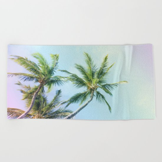 Relaxing Rainbow Color Palms Beach Towel