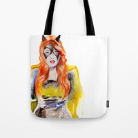 batgirl Tote Bags featuring BATGIRL by Clementine Petrova