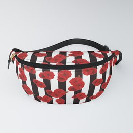 Red poppies on a black and white striped background. Fanny Pack