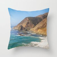 big sur Throw Pillows featuring Big Sur Blue by Jenndalyn