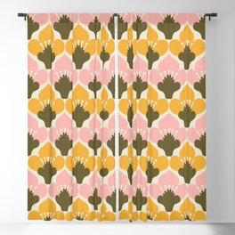Yellow & Pink Flower Pattern Blackout Curtain