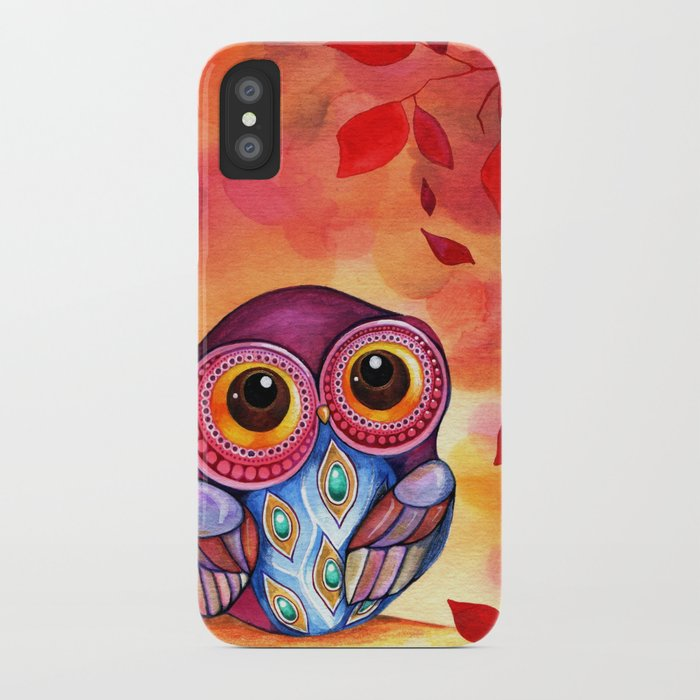 Owl's First Fall Leaf iPhone Case