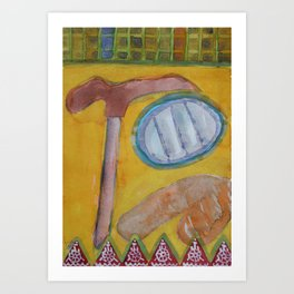 Still Life with Hammer on Yellow Art Print