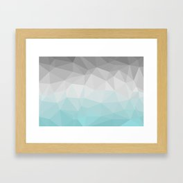 light blue and grey polygon Framed Art Print