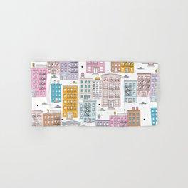 Manhattan brownstones New York travel pattern Hand & Bath Towel