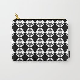 Black And White Flowery Daisy Pattern Carry-All Pouch