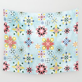 Christmas snowflakes pattern Wall Tapestry