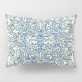 Blue & Tan Art Nouveau Pattern Pillow Sham