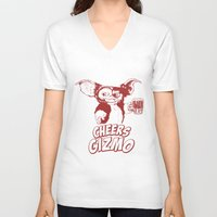 gizmo V-neck T-shirts featuring Cheers Gizmo by Roma