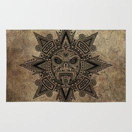 Ancient Stone Mayan Sun Mask Rug