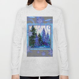 ORNATE BLUE-GREY WINTER SNOWFLAKES FOREST ART Long Sleeve T-shirt