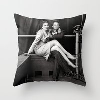 wes anderson Throw Pillows featuring WES & ANJELICA by VAGABOND