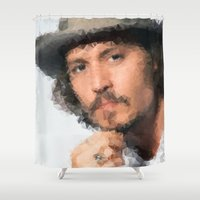 johnny depp Shower Curtains featuring Johnny Depp by lauramaahs