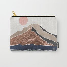 Mount Hood // Daylight Art Print Oregon Stratovolcano Rose Gold Silver Blue Cream Black Mountain Carry-All Pouch