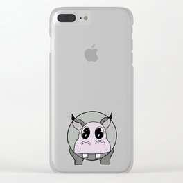 Happy Hippo drawing Clear iPhone Case