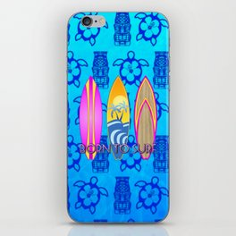 Pink Born To Surf Blue Tiki Mask iPhone Skin