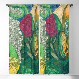 Fruit and Veggie Bowl with Rose Blackout Curtain