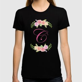Floral Initial Letter C T-shirt