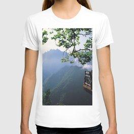lookout beautiful mountain fog T-shirt
