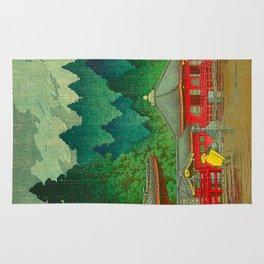 Vintage Japanese Woodblock Print Rainy Day At The Shinto Shrine Tall Pine trees Yellow Rain Coat Rug