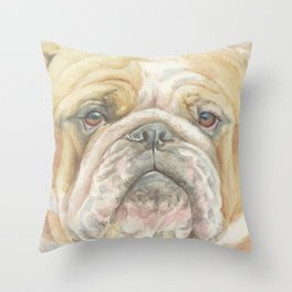 Bully ENGLISH BULLDOG FACE Dog portrait Watercolor painting  Cute Pet decor for Dog Lover Throw Pillow