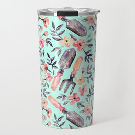 Spring Gardening - peach blossoms on mint Travel Mug