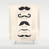 moustache Shower Curtains featuring Monsieur Moustache by The Love Shop