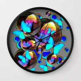 BLUE & GOLD  BUBBLES BLUE BUTTERFLIES PEACOCK EYES Wall Clock