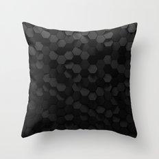 Black abstract hexagon pattern Throw Pillow