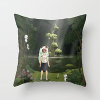 princess mononoke Throw Pillows featuring Princess Mononoke by ketizoloto