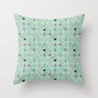 digimon Throw Pillows featuring Nade Nade by Kiriska