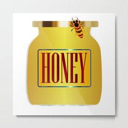Honey Pot And Bee Metal Print