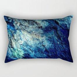 Mineral Texture Dark Teal Ocean Blue Rectangular Pillow