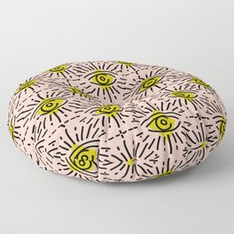 Dainty Seeing Eye Pattern in Chartreuse Floor Pillow