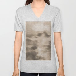 Fusion Abstract Watercolor Blend Pantone Hazelnut / Fluid Art Ink Unisex V-Neck