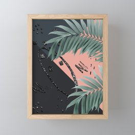 Night Palms Cali Vibes Abstract Glitter Glam #3 #tropical #decor #art #society6 Framed Mini Art Print