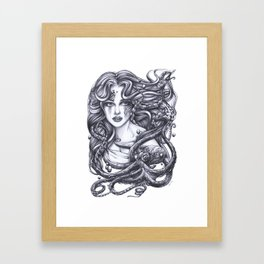 Mermaid and her Octopus Framed Art Print