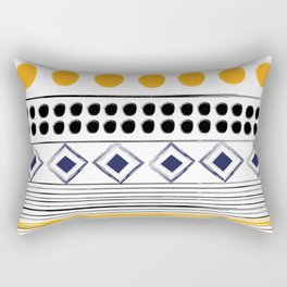 Old Aztec Inspired Pattern retro Collection - Black and Yellow Design Edition Rectangular Pillow