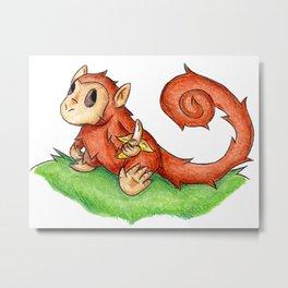 Banana Monkey Metal Print