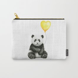 Panda with Yellow Balloon Baby Animal Watercolor Nursery Art Carry-All Pouch