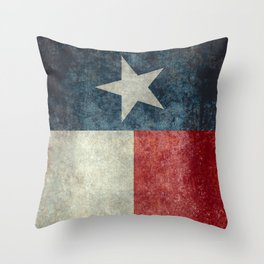 Texas state flag, Vintage banner version Throw Pillow