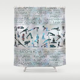 Yoga Asanas / Poses Sanskrit Word Art  Labradorite on pearl Shower Curtain