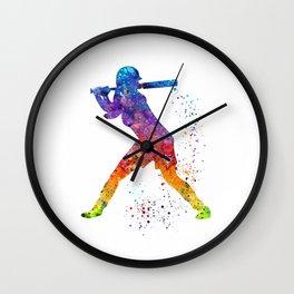Girl Baseball Softball Batter Sports Art Colorful Watercolor Gift Wall Clock