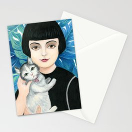 Vintage woman with cat. Stationery Cards