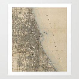 Vintage Map of Chicago (1899) Art Print